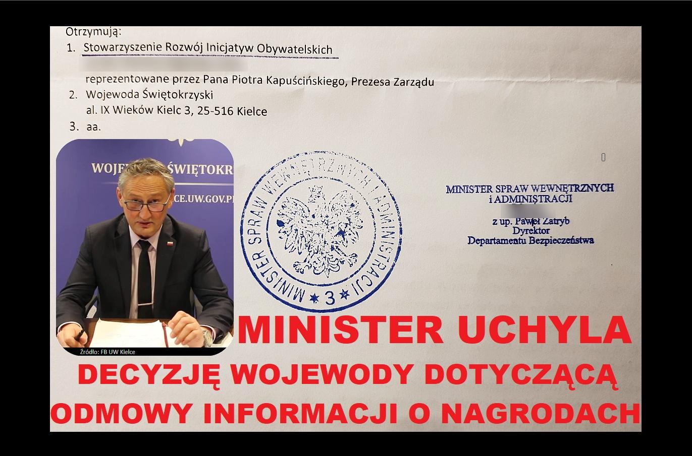 Wojewoda Koniusz przegrał z nami przed Ministrem Spraw Wewnętrznych !